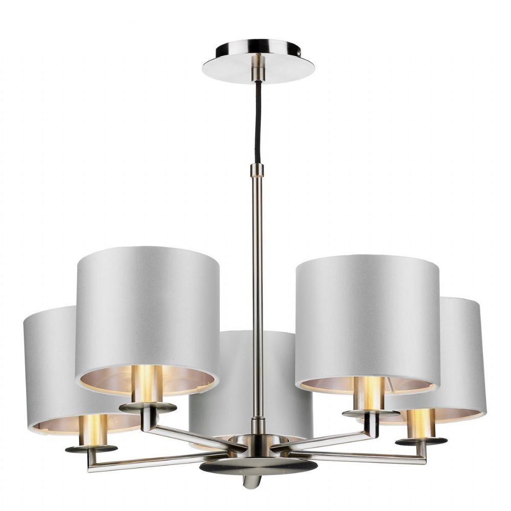 Rex 5Lt Pendant Satin Nickel Complete with Shades REX0538 (Choose colour, Hand made, 10-14 day Del)
